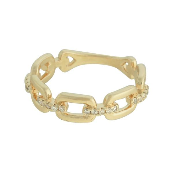 Anel Elos Zircônia Lesprit 68136521 Dourado Cristal
