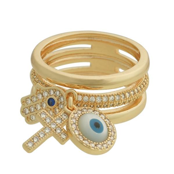 Anel Zircônia Lesprit 68102141 Dourado Cristal