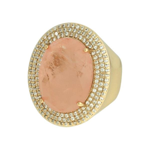 Anel Zircônia Lesprit 68112541 Dourado Rosa
