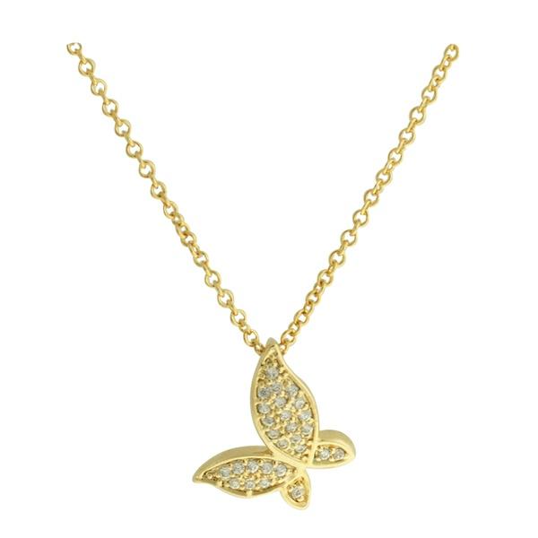 Colar Borboleta Zircônia Lesprit 4011 Dourado Cristal