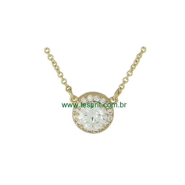 Colar Zircônia Lesprit 00053 Dourado Cristal