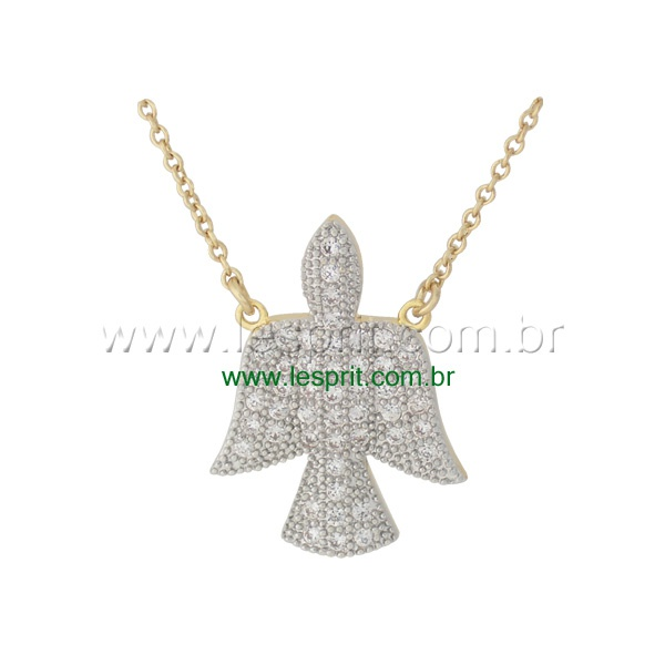 Colar Anjo Divino Zircônia Lesprit 00010 Dourado Cristal