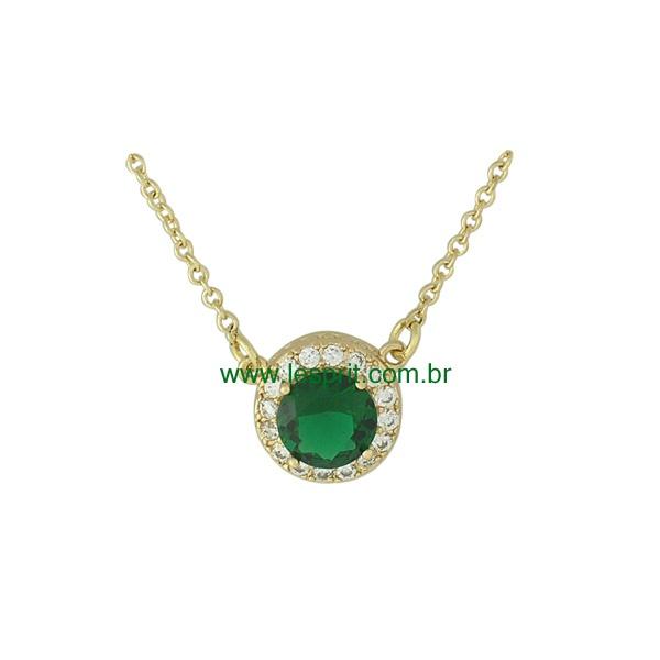 Colar Zircônia Lesprit 00053 Dourado Verde