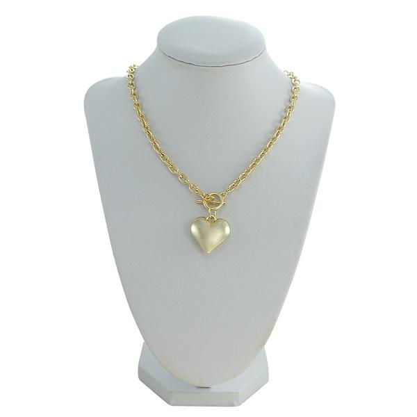 Colar Corrente Coração Metal Lesprit 00314 Dourado