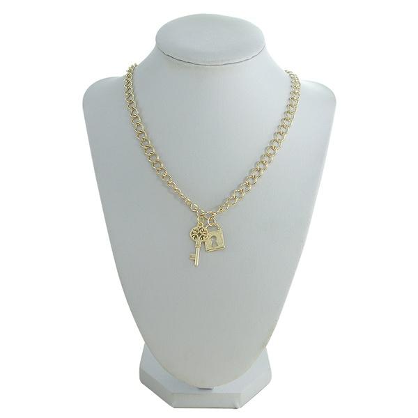 Colar Chave e Cadeado Metal Lesprit 00319 Dourado