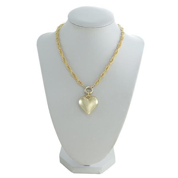 Colar Corrente Coração Metal Lesprit 00330 Dourado