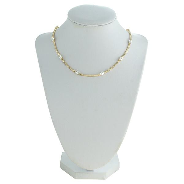 Colar Zircônia Lesprit LC02271WGL Dourado Cristal