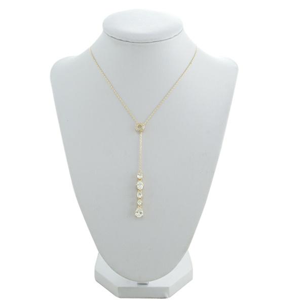 Colar Gravata Zircônia Lesprit LC03351WGL Dourado Cristal