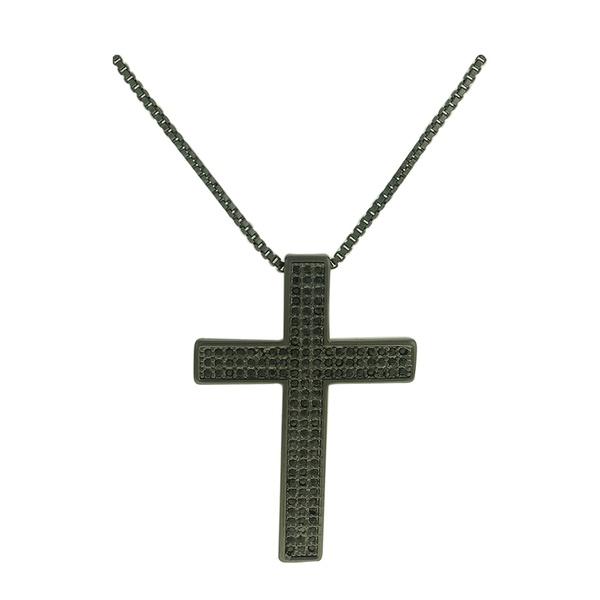 Colar Crucifixo Zircônia Lesprit LC01431BOBK Ródio Negro Preto