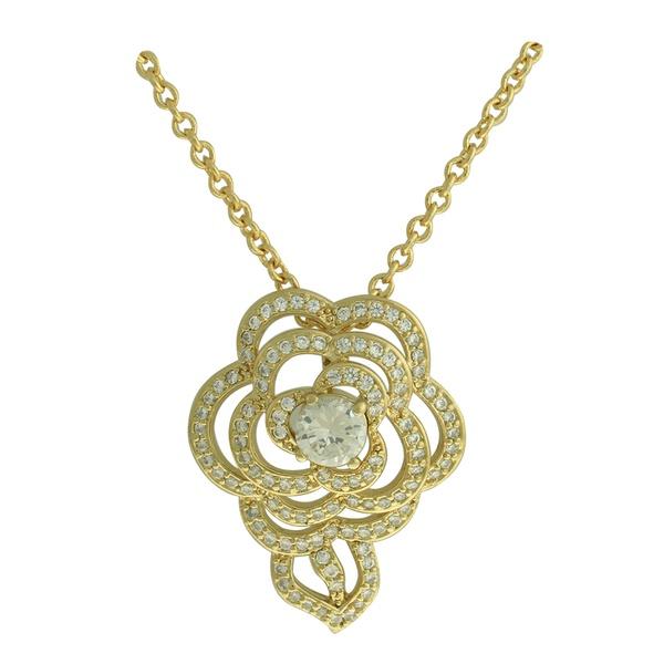 Colar Zircônia Lesprit VMS83421 Dourado Cristal