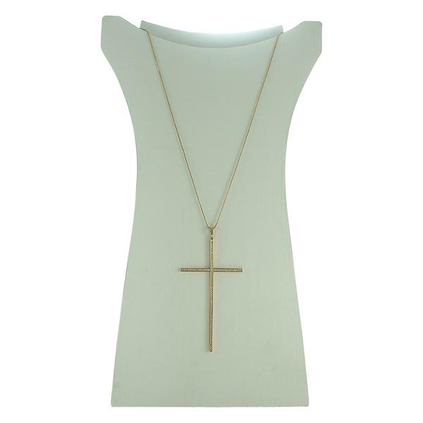 Colar Crucifixo Zircônia Lesprit 60013311 Dourado Cristal