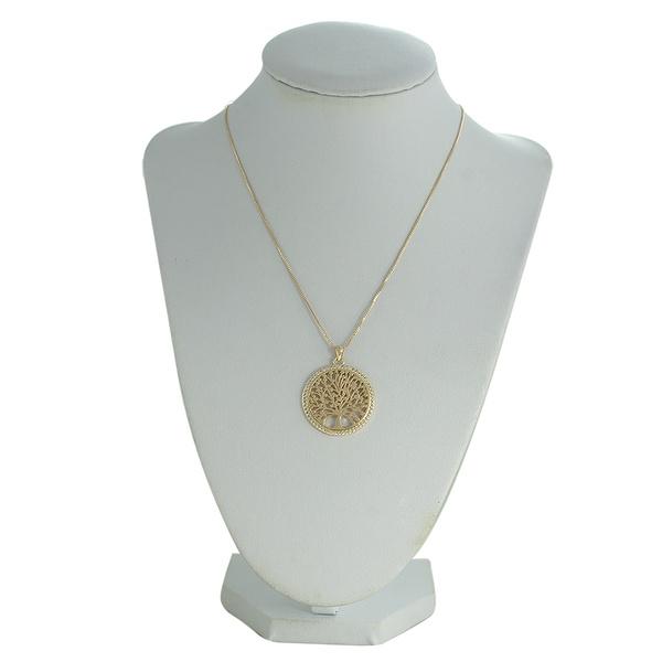 Colar Arvore da Vida Zircônia Lesprit 68133281 Dourado Cristal