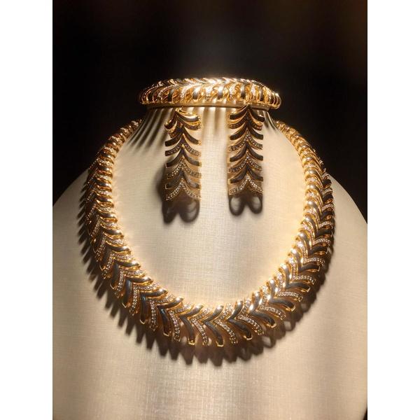 Conjunto Colar Zircônia Lesprit 60097341 Dourado Cristal