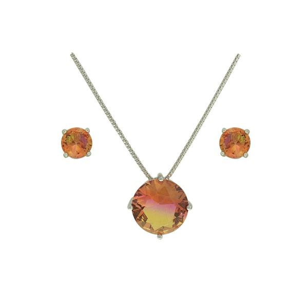 Conjunto Zirconia Lesprit U18A010251 Ródio Rainbow Rosa e Amarelo