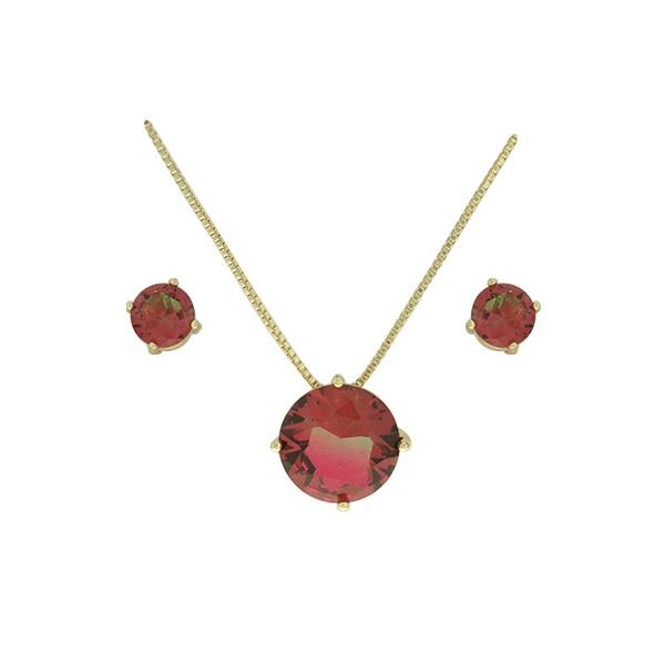Conjunto Zirconia Lesprit U18A010251 Dourado Rainbow Verde e Rubi
