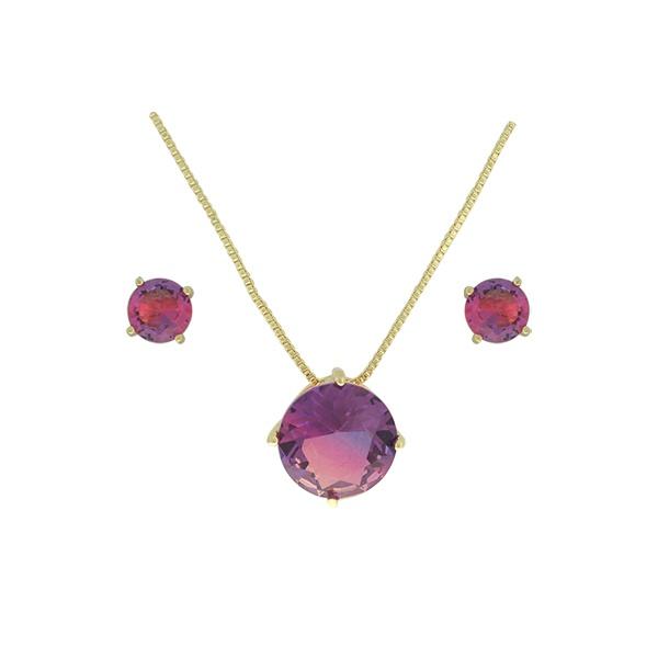 Conjunto Zirconia Lesprit U18A010251 Dourado Rainbow Roxo e Rosa