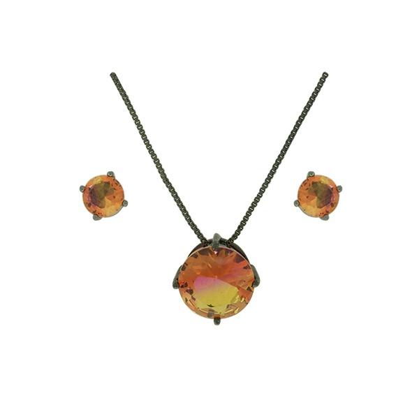 Conjunto Zirconia Lesprit U18A010251 Ródio Negro Rainbow Rosa e Amarelo