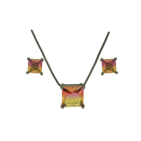 Conjunto Zirconia Lesprit U18A010261 Ródio Negro Rainbow Rosa e Amarelo