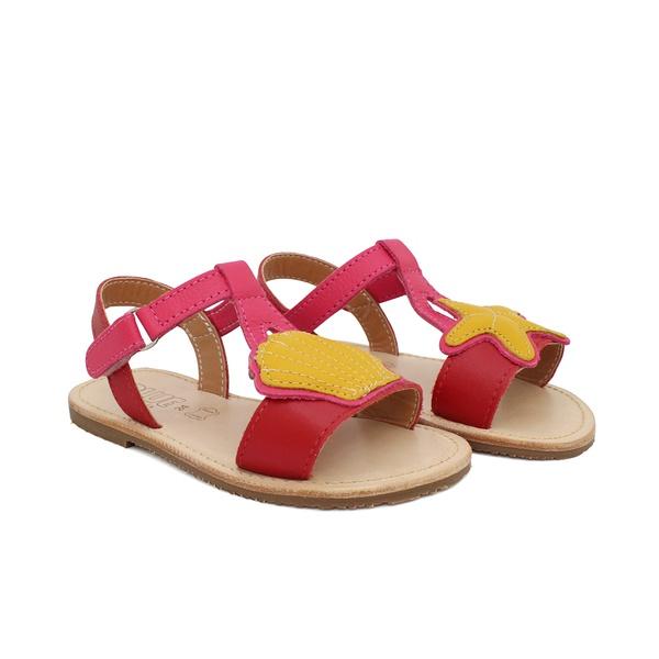 Sandália Infantil Feminina Lolla - Vermelho/ Pink / Amarelo