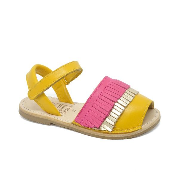 Sandália Infantil Feminina Berenice Abóbora/ Metalizado Dourado/ Pink Fluor
