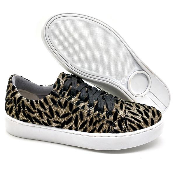 Sapato Feminino Casual Monet Bmbrasil 351/19 Textura Preto/dourado