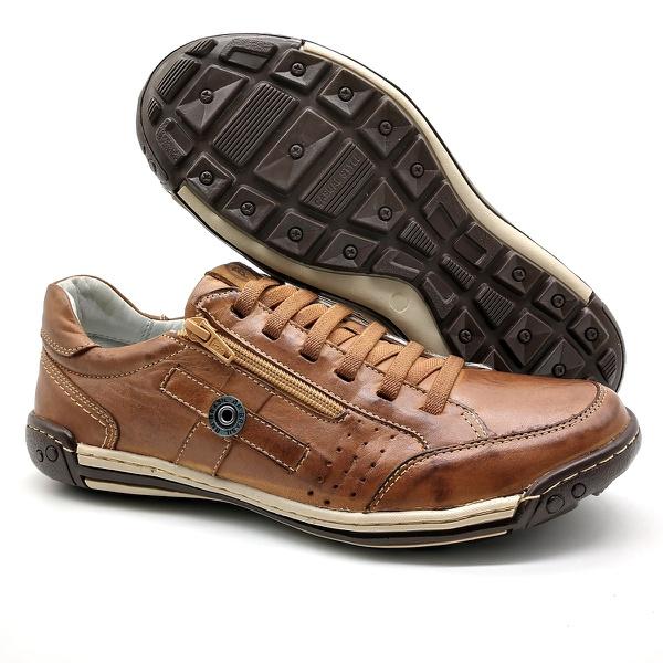 Sapato Masculino Casual Zíper e Elástico Palmilha Ortopédica 148/01 Caramelo