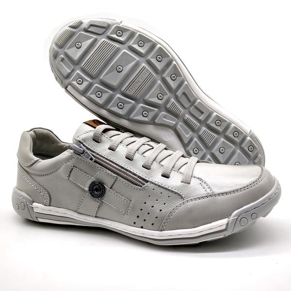 Sapato Masculino Casual Zíper e Elástico Palmilha Ortopédica 148/04 Gelo