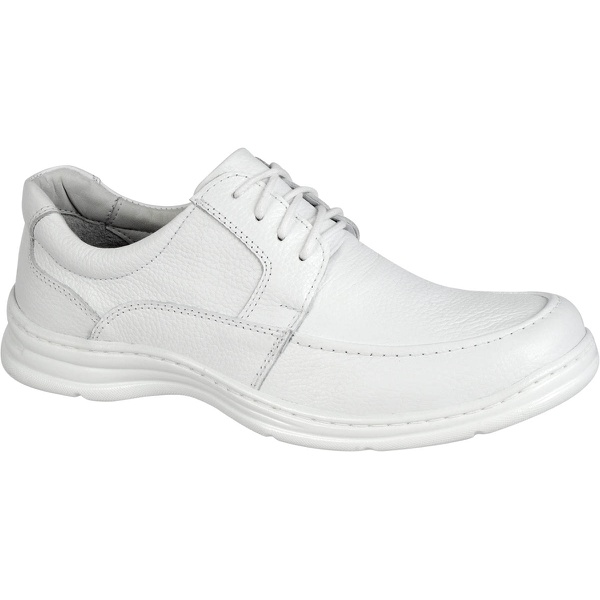 Sapato Confort Plus Bmbrasil De Couro Palmilha Em Gel Extra Leve 2712/05 Branco