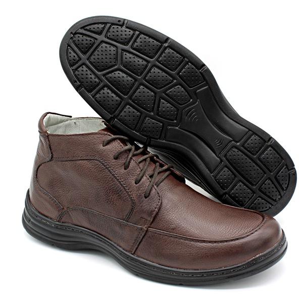 Sapato Confort Plus Bmbrasil De Couro Palmilha Em Gel Extra Leve 2713/02 Café