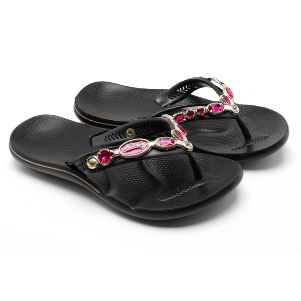 Chinelo Feminino Confortável - Ch06 Preto/preto Resina Pink