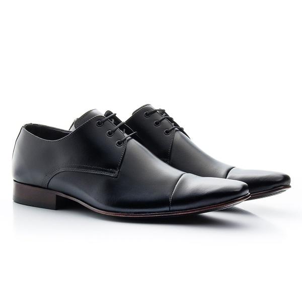 Sapato social de amarrar estilo italiano bico fino solado de couro