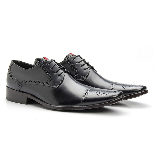 Sapato Brogue Masculino De Amarrar Preto Solado Em Couro