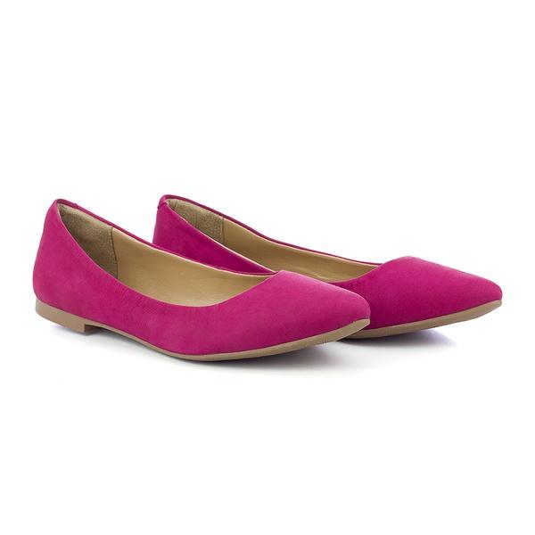 Sapatilha Casual Feminina Bico Fino Em Couro 100 Rosa Pink