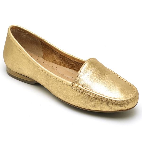 Sapatilha Calçado Mocassim Em Couro Feminino Casual 24000 Ouro