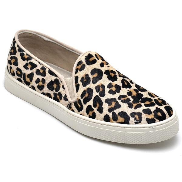 Tênis Feminina Slip On Couro 26000 Leopardo