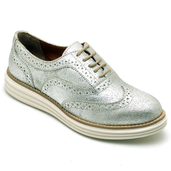 Sapato Oxford Plataforma Feminino Couro Nobuck 300 Prata