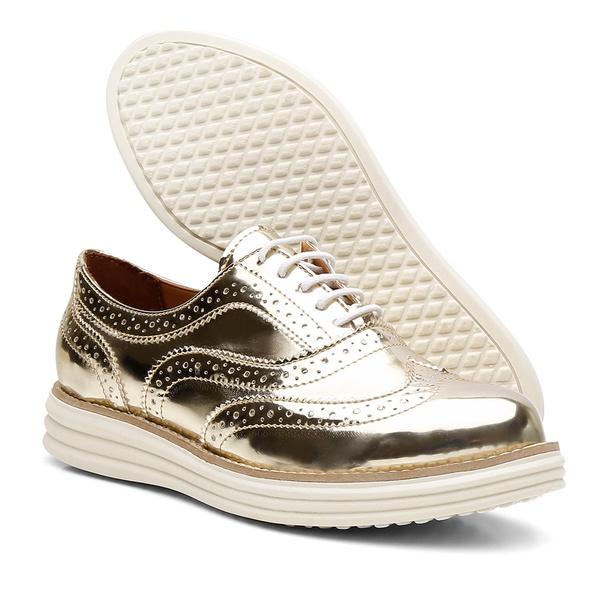 Sapato Oxford Plataforma Feminino Couro Nobuck 300 Ouro Spechio