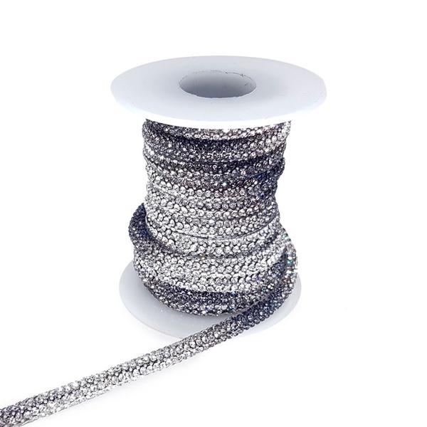 Cordão Infinity Aquarela - Jet / Cristal, Base Silicone.