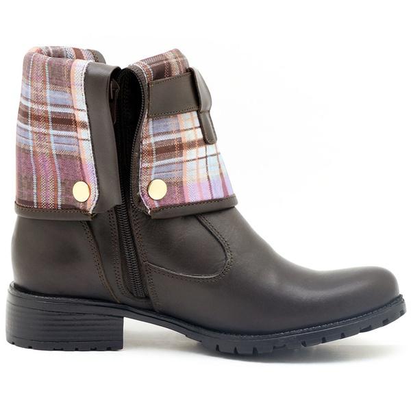 Coturno Atron Shoes Feminino Dobrável Couro Café