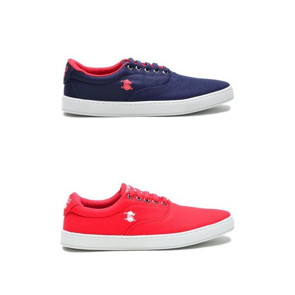 Kit 2 Pares Sapatênis Masculino Polo Slim Azul/Vermelho - Vermelho/Branco