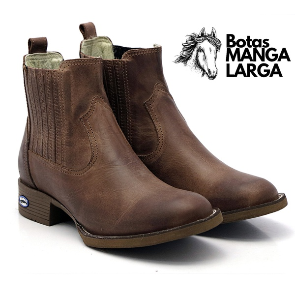 Botina Texana Mangalarga Leader, com Bico Redondo e Solado Marrom