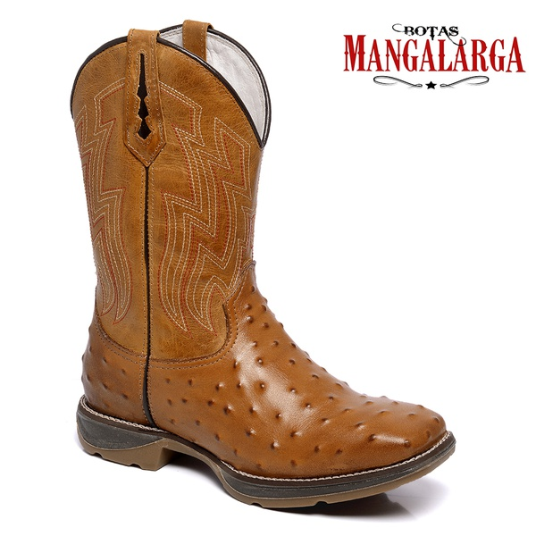 Bota Texana Masculina Mangalarga TexarKana - Réplica Avestruz