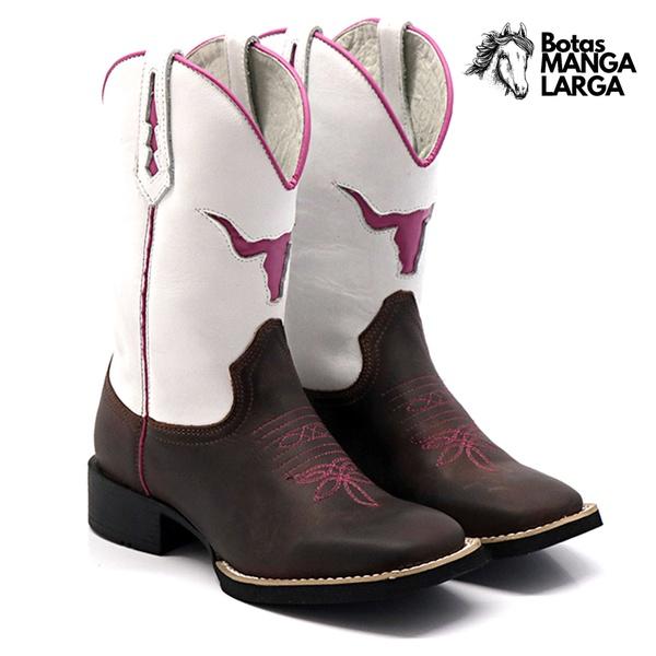Bota Texana Feminina Touro Rosa Bico Quadrado