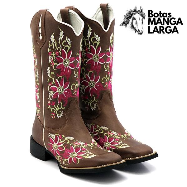 Bota Texana Flor Rosa
