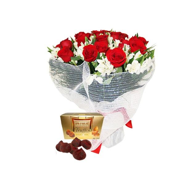Buquê 18 rosas e trufas