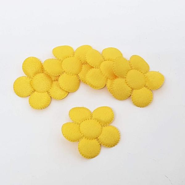 Aplique Flor M Cetim Amarelo (pacote com 5 unidade... - BOUTIQUEDASRENDAS