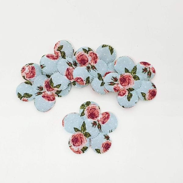 Aplique Flor M Cetim Provence Azul (pacote com 5 u... - BOUTIQUEDASRENDAS