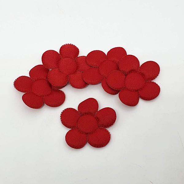 Aplique Flor M Cetim Vermelho (pacote com 5 unidad... - BOUTIQUEDASRENDAS