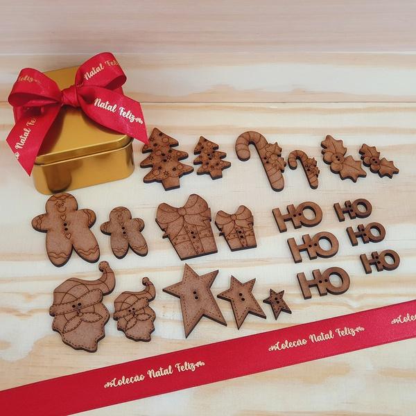Botões MDF Coleção Natal Feliz - BOT-NATAL - BOUTIQUEDASRENDAS