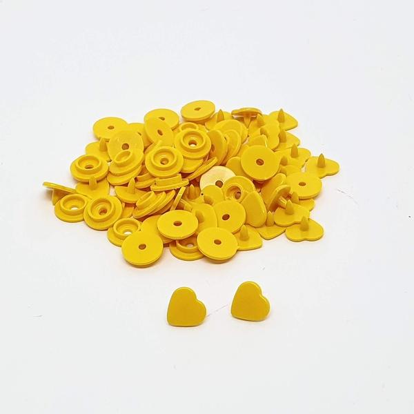 Botão de Pressão de Coração n°10 - Amarelo ouro (c... - BOUTIQUEDASRENDAS